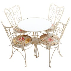 Wrought Iron French Garden Set of Four Chairs and a Table, 1950s