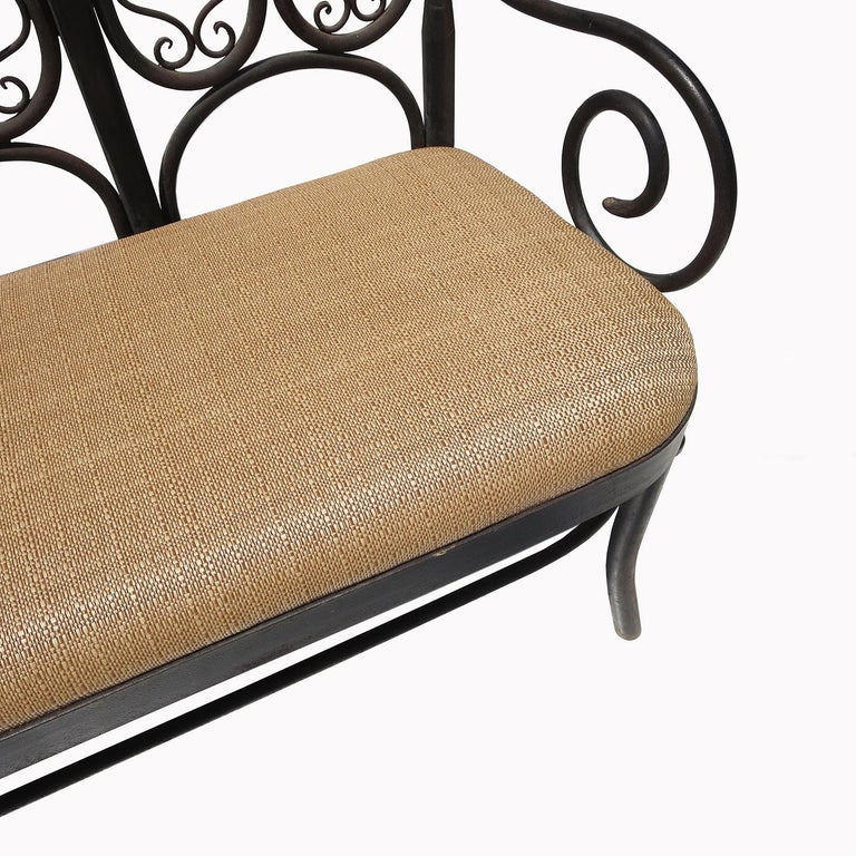 This wonderful bench is unlike others we have seen. All metals are solid iron, including the thicker legs. The bench is solid and heavy! The quality of the handwrought bending and the overall pleasing design show this to be the work of a very