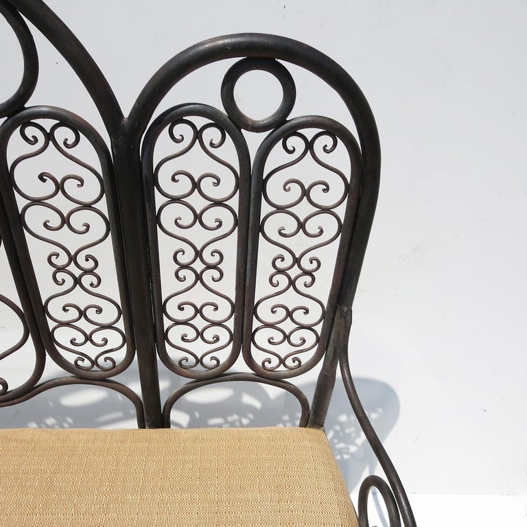 Rustic Wrought Iron Garden Bench, Early 20th Century For Sale