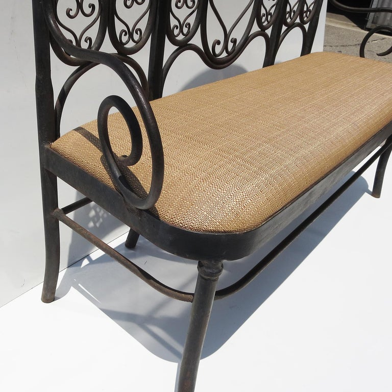 American Wrought Iron Garden Bench, Early 20th Century For Sale