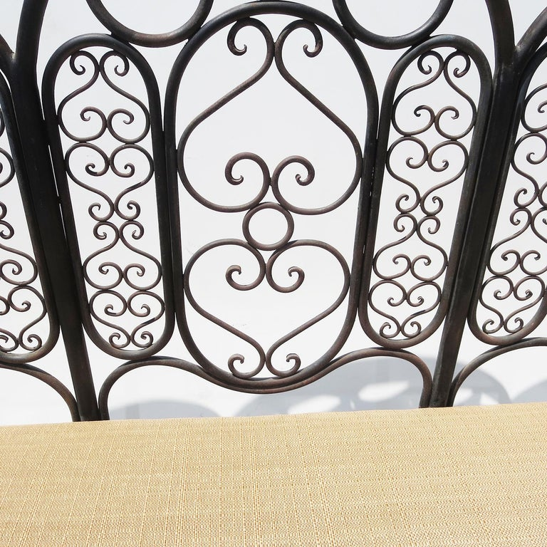 Wrought Iron Garden Bench, Early 20th Century In Good Condition For Sale In North Hollywood, CA