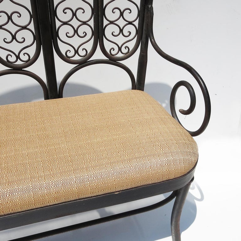Wrought Iron Garden Bench, Early 20th Century For Sale 1