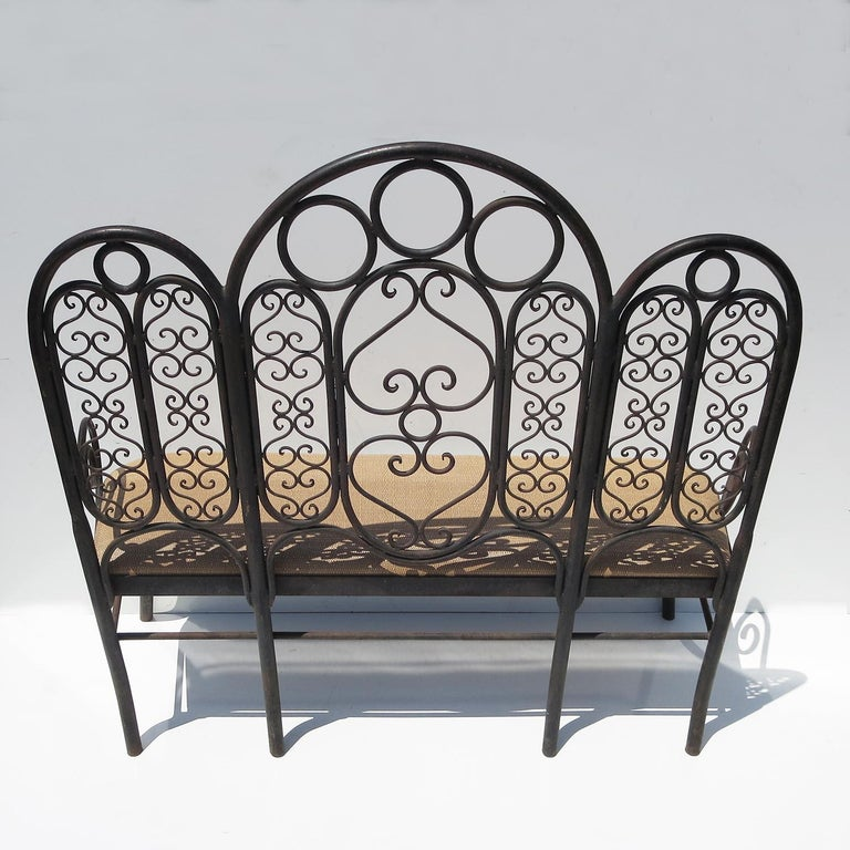 Wrought Iron Garden Bench, Early 20th Century For Sale 2