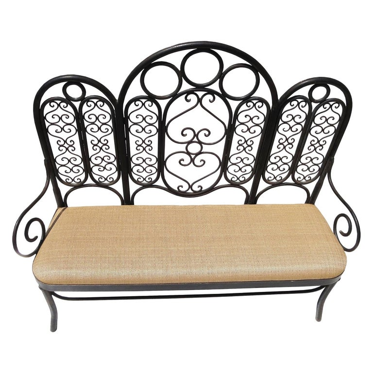 Wrought Iron Garden Bench, Early 20th Century For Sale