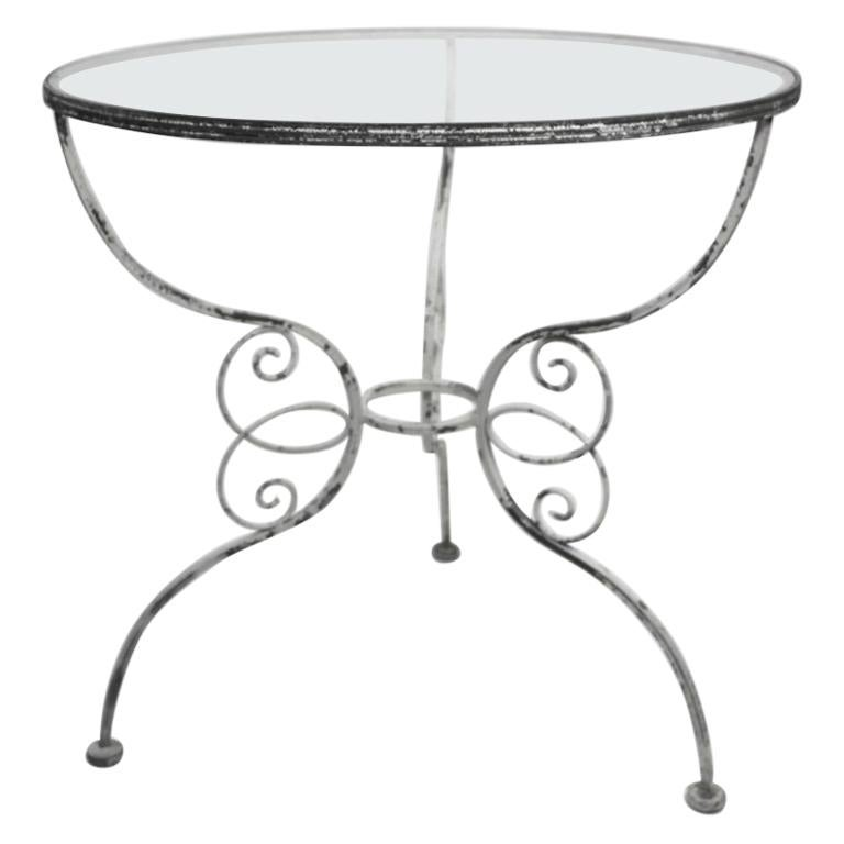 Wrought Iron Garden Cafe Dining Table Attributed to Salterini