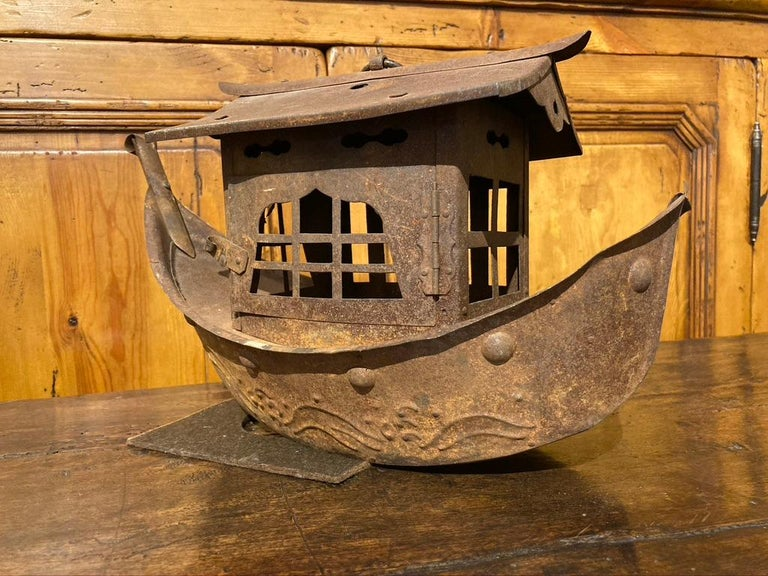 Wrought Iron Garden Lantern in the Form of a Chinese Junk For Sale 5