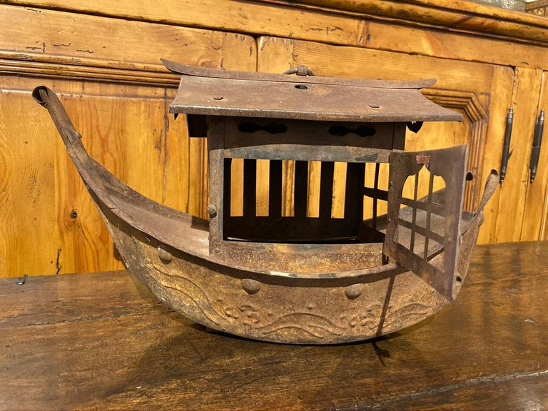Wrought Iron Garden Lantern in the Form of a Chinese Junk For Sale 6