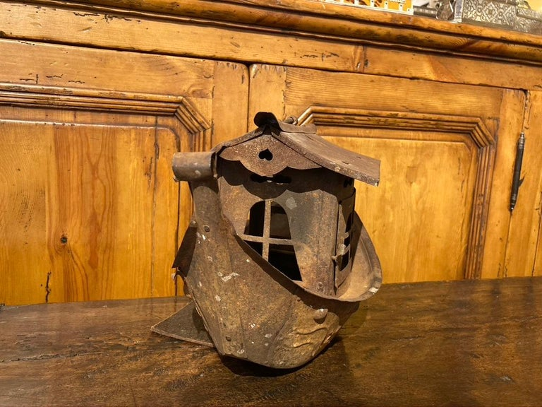 Chinoiserie Wrought Iron Garden Lantern in the Form of a Chinese Junk For Sale