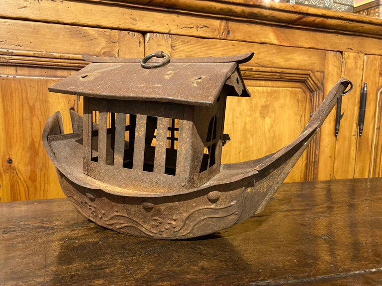 Wrought Iron Garden Lantern in the Form of a Chinese Junk In Good Condition For Sale In Stamford, CT