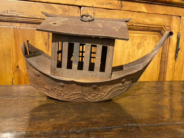 20th Century Wrought Iron Garden Lantern in the Form of a Chinese Junk For Sale