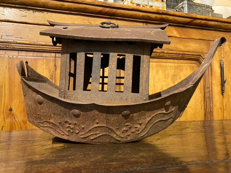 Wrought Iron Garden Lantern in the Form of a Chinese Junk For Sale 1
