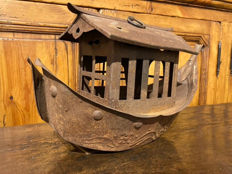 Wrought Iron Garden Lantern in the Form of a Chinese Junk For Sale 3
