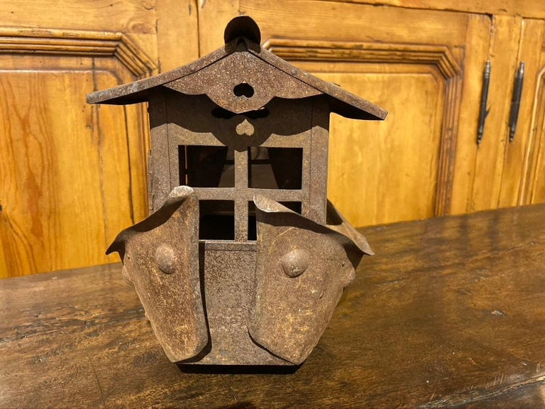 Wrought Iron Garden Lantern in the Form of a Chinese Junk For Sale 4