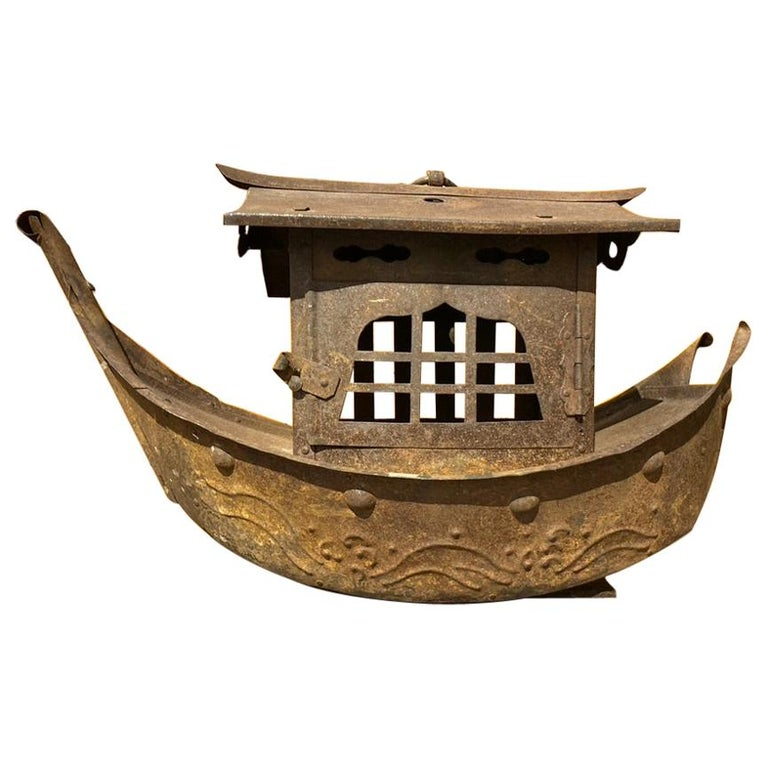 Wrought Iron Garden Lantern in the Form of a Chinese Junk For Sale
