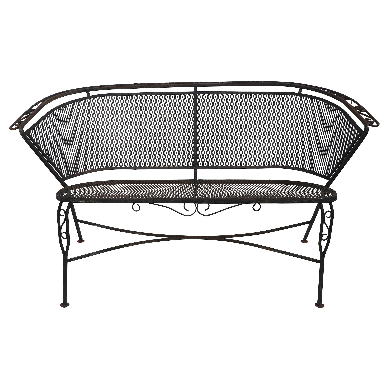Wrought Iron Garden Patio Settee Sofa Att. to Salterini