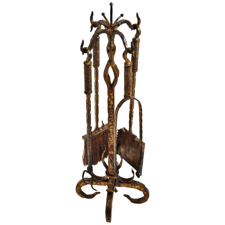 Wrought Iron Gilt Gothic Revival Fireplace Tool Set on Stand, Spain 19th Century For Sale