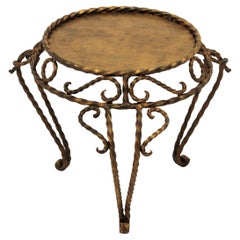 Wrought Iron Gilt Table with Twisted Details