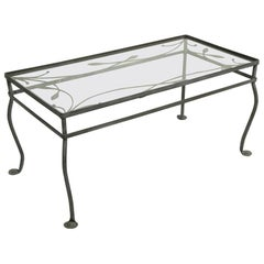 Wrought Iron Glass Top Coffee Cocktail Table by Salterini