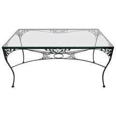 Wrought Iron Glass Top Garden Patio Dining Table by Woodard