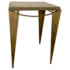 Wrought Iron Gold Tone Modern Side Table
