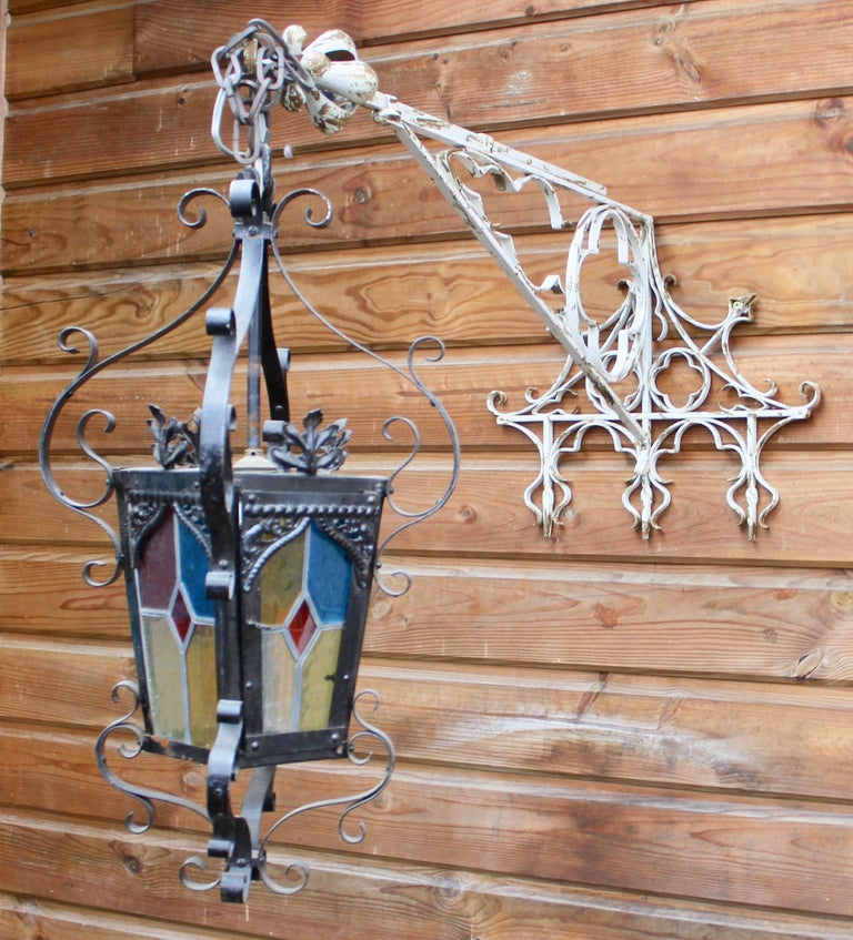 Art Nouveau Wrought Iron Handcrafted and Smithed Wall-Bracket for Lantern or Sign For Sale