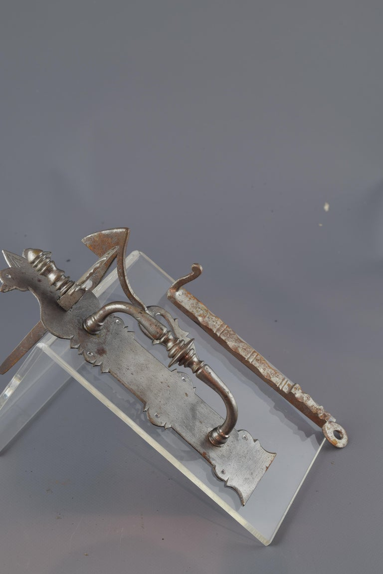 Baroque Revival Wrought Iron Handle with Bolt, after Baroque Models, 20th Century For Sale