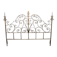 Wrought Iron Italian Gold Gilt King-Size Headboard