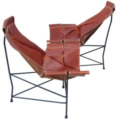 Wrought Iron Jerry Johnson Leather Sling Lounge Chairs Leathercraft 1954
