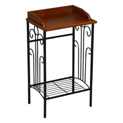 Wrought Iron Lamp End Side Wine Table Jardinière Stand Nice Size Natural Style
