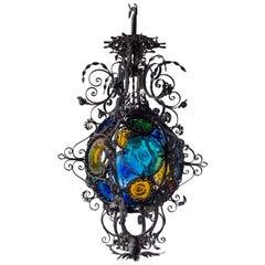 Wrought Iron Lantern, circa 1890, Stained Glass