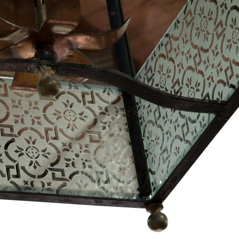 English Wrought iron lantern with frosted panels to lower part For Sale