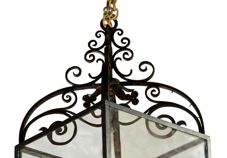 20th Century Wrought iron lantern with frosted panels to lower part For Sale