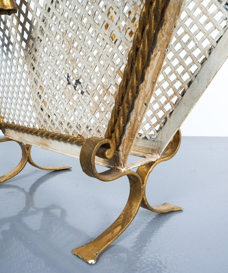 Wrought Iron Magazine Rack Gold White, Germany, circa 1955 For Sale 1