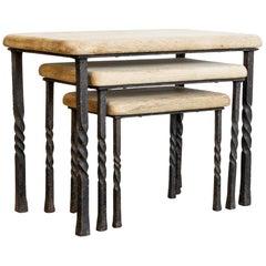 Wrought Iron Oak Nesting Tables, Set of Three
