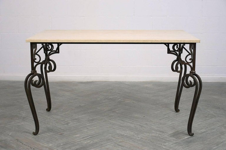 Spanish Colonial Wrought Iron Outdoor Dining Table For Sale