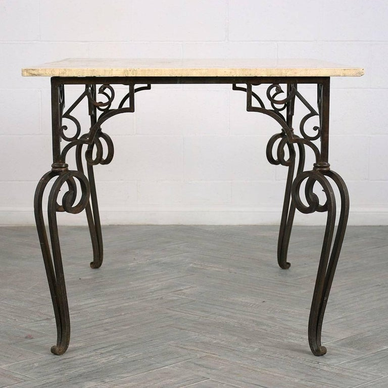 20th Century Wrought Iron Outdoor Dining Table For Sale