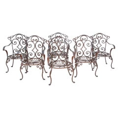 Wrought Iron Outdoor Set of 6 Armchairs in Jean-Charles Moreux Style