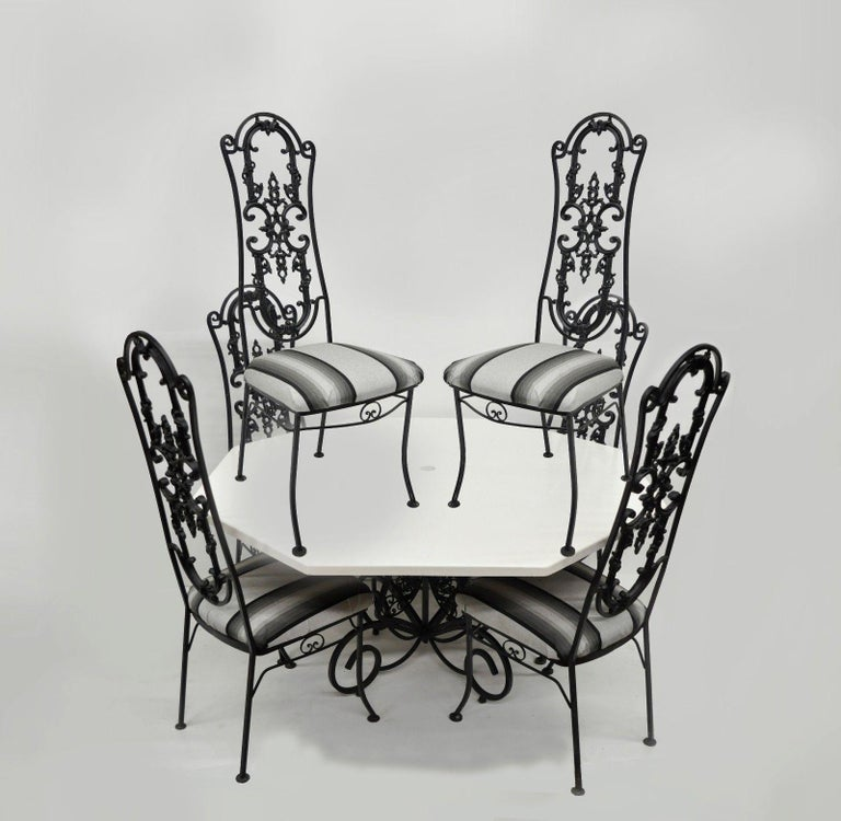 Wrought Iron Patio Sunroom Dining Set Hollywood Regency