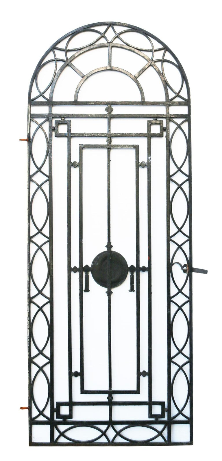Victorian Wrought Iron Pedestrian Gate With Bronze Roundel, circa 1900 For Sale