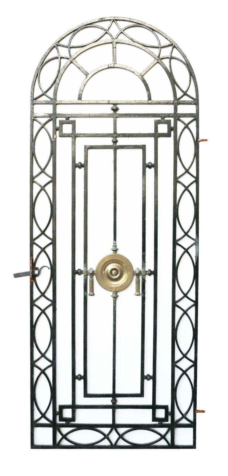 English Wrought Iron Pedestrian Gate With Bronze Roundel, circa 1900 For Sale