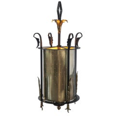 Wrought Iron Pendant Lantern with Pierced Brass Cylinder Shade, circa 1950s
