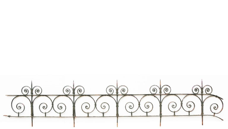 Victorian Wrought Iron Railing with Side Gate and Post For Sale