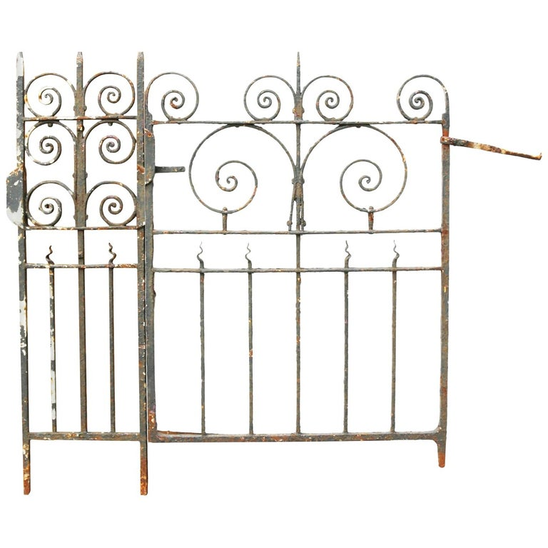 Wrought Iron Railing with Side Gate and Post For Sale