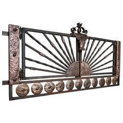 Wrought Iron Ranch Like Gate / Fence Window w. Stylized Brass Longhorn Sculpture