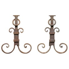 Wrought Iron Scroll Design Ringed Fire Dogs, 20th Century