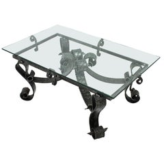 Wrought Iron Scroll Motif Brutalist Coffee Table Base, France, 1950s