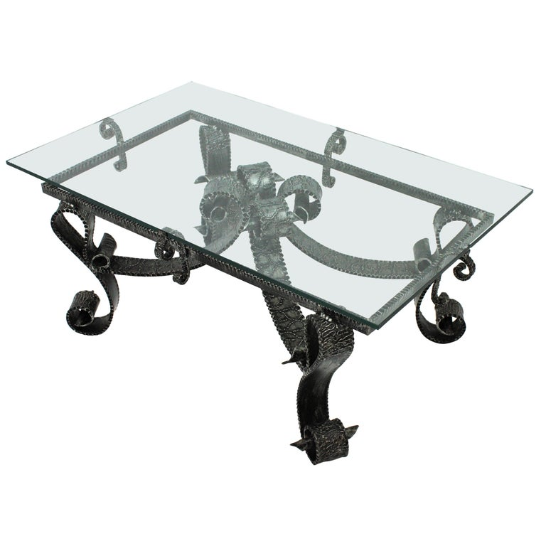 French Wrought Iron Coffee Table Base Scroll Motif And Brutalist Design For Sale At 1stdibs