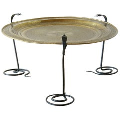 Wrought Iron Serpents Table with Hand Tooled Star Pattern on Brass Top