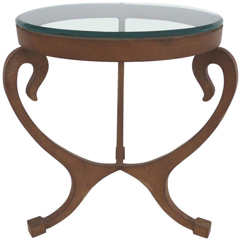 Wrought Iron Side Table With Gl Top For
