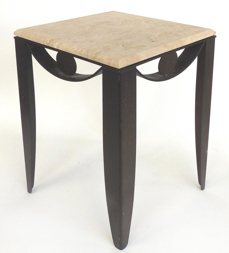Beveled Wrought Iron Side Table with Travertine Top For Sale